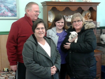 Bud, Judy, Colleen, Alexis-their grand daughter- with new puppy